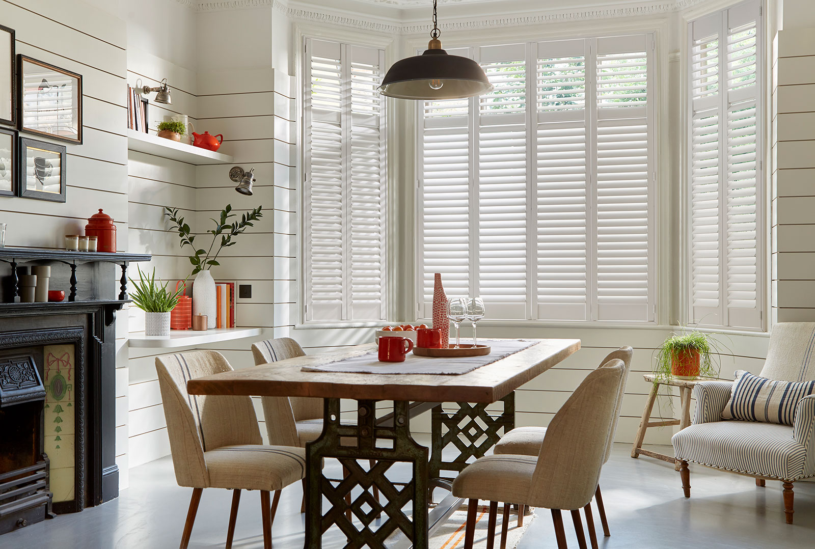 full height shutters bay window